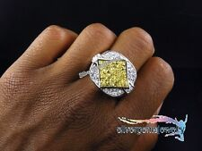 MENS .925 STERLING SILVER YELLOW, WHITE DIAMOND HUGE PINKY WEDDING RING 1.65 CT