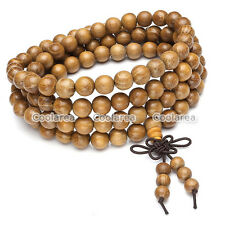 Mens Natural Golden Wood Bracelet Wrist Necklace Buddhist Beads Paryer Mala Cuff