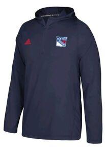 New York Rangers  Hockey Adidas NHL Authentic Training Hooded Sweatshirt Mens XL