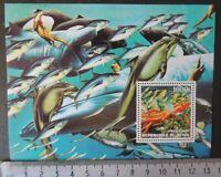 2002 fish dolphins otter whales tuna squid marine life souvenir sheet MNH