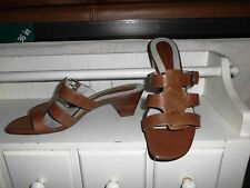 """LNC* Sz 8 NATURALIIZER; Tan Leather Silver Buckles; 2"""" Stacked Heel Sandal Shoes"""