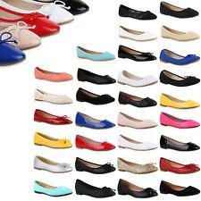 Klassische Damen Ballerinas Lack Slipper Flats Schuhe 814761 Top