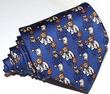 Fil A Fil Paris Mens blue Novelty stylish bears all silk tie/necktie,France made