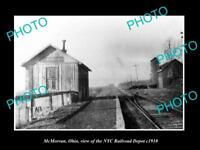 OLD LARGE HISTORIC PHOTO OF McMORRAN OHIO THE NYC RAILROAD DEPOT DEPOT c1910