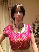 """34 36 38"""" S Saree Blouse Indian Bollywood Sari Top Choli Pink Gold T12"""