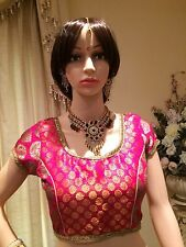 "34 36 38"" S Saree Blouse Indian Bollywood Sari Top Choli Pink Gold T12"