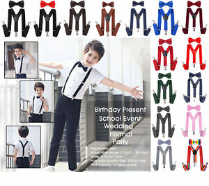 Elastic Adjustable Kids Child Boys Girls Suspenders Braces Bow Tie Sets