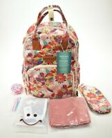 Malirona Blooming Girls Backpack Baby Diaper Bag w Accessories Flowers Pink Tan