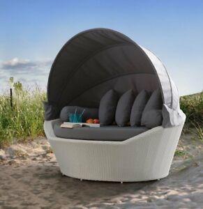 XXL Luxus Premium Rattan Sonneninsel Strandmuschel Strandkorb Gartenliege Lounge