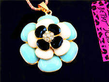 Betsey Johnson Enamel Crystal Blue Flower Pendant Sweater Chain Necklace