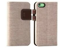 For Apple iPhone 5C Phone Case Cover Tan Hybrid Credit Card Flip Wallet w/ Stand