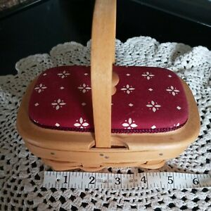 Longaberger Small Rectangle Basket Wooden Padded Lid Plastic Protector