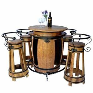 Fasstisch + 4 Barhocker SET Holz Fass Haus Gartendeko Gartenmöbel Garten Tisch