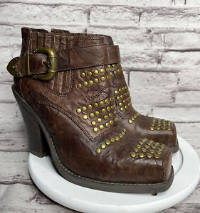 Jeffrey Campbell Maxim Size 8 Women's Ankle Boots Brown Studded Leather Heels
