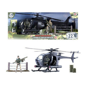 World Peacekeepers Combat Helicopter Playset With 2 Figures - Tracked Post
