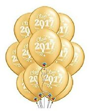"""GOLD White Class of 2017 Graduation GRAD Cap Hat (12) 12"""" Party Latex Balloons"""