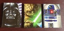 Star Wars Set of 3 5X7 Note Books 1-Darth Vader, 1-R2D2, 1-Yoda 48 Pages Ea NEW