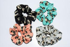 Pug Dog Hair Scrunchies 4 Pack Cotton Elastic Hair Bands Scrunchy Hair Ties