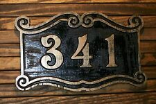 Wood Address Sign Antique Brass Finished Double Scroll Custom Carved Plaque