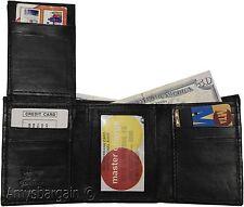 Men's wallet. Leather Tri-fold Wallet, Black 9 card 2 ID 2 Billfold new wallet*.
