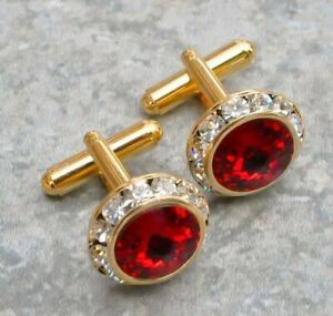 Red Ruby & Diamond 4.30Ct Men's Shirt Cuff Links with 14k Yellow Gold Over 2PC