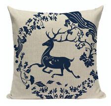 Navy Blue Christmas Cushion, Reindeer, Deer, Blue & White, Modern, Toile, China