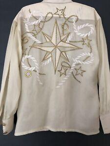 Escada By Margaretha Ley Vintage Cream Embriodered Shirt Size 10