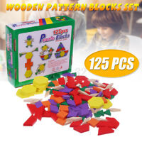 125 Pcs Wooden Puzzle Block IQ Game Early Learning Educational Tangram Kids Toy