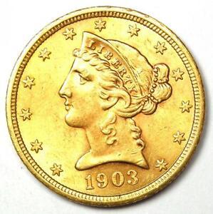 1903-S Liberty Gold Half Eagle $5 Coin - Choice AU / UNC MS Details - Rare Coin!