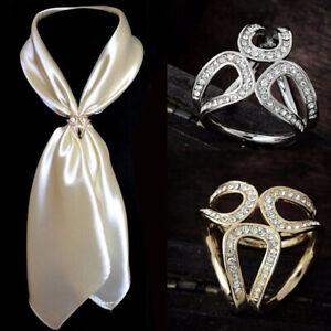 Women Girls Silk Scarf Clips Fashion Scarf Rings Scarves Buckle Jewelery Wrap UK