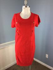 DVF Diane Von Furstenburg M L Red Silk Cotton Sweater Dress Cap Slv EUC Career