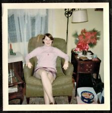 Vintage Photograph Young Woman Sitting in Chair in Retro Living Room