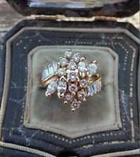 2 Carat Diamond 14K Yellow Gold Finish Marquise Cluster Engagement Wedding Ring