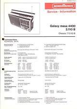Nordmende Service Manual für Galaxy mesa 4400 3.110B