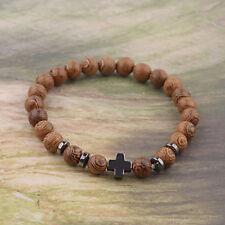 Men Women Hematite Cross Wooden Bracelets Healing Chakras Stretchy Luck Bracelet