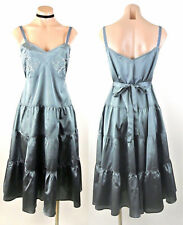 Nataya Dress Sale Blue Summer Day Dress Tie Back casual satin embroidered