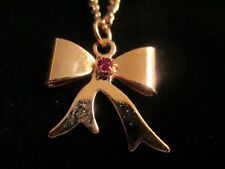 """14K Gold Tone"" GP Ruby on Bow Young Lady or Girl's 1st Pendant on 18 inch Chain"
