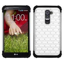 LG Optimus G2 AT&T T-Mobile Sprint Hybrid Stud Diamond Case + Screen Protector