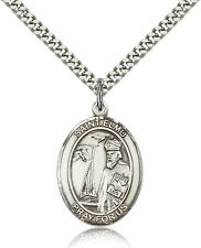 "Saint Elmo Medal For Men - .925 Sterling Silver Necklace On 24"" Chain - 30 Da..."