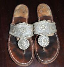 Jack Rogers Sparkle Thong Sandal Silver Platinum Glitter Women's Size 7