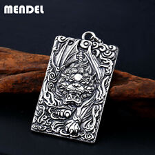 MENDEL Mens Large Lion Pixiu Amulet Yin Yang Pendant Necklace Stainless Steel