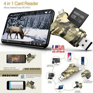 4 in 1 Trail Camera Viewer SD Card Reader For IPhone Android Hunting Memory Card