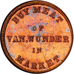 Cincinnati Ohio Civil War Token Van Wunder R8 BRASS Rare Merchant PCGS MS65