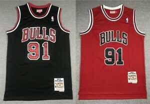91# Dennis Rodman Chicago Bulls 1997-98 Classics Men's Swingman Jersey Red Black