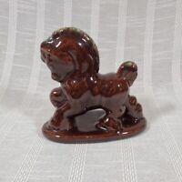 Vintage Dark Brown Glossy Prancing Horse Figurine on Base Unmarked 1940s