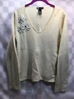 CAROLE LITTLE Lambs Wool Blend V-Neck Flower Sweater Women's Size L