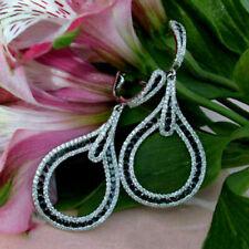 3CT Black & White Round Diamond Drop Dangle Earrings Gift 14k White Gold Finish