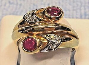 LADIES FINE 18K GOLD RUBY + DIAMOND RING    RETAIL $ 1385.00