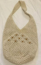 Large Macreme Shoulder Bag With Wood Beads From Philippines EUC