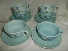 Vintage HIGHMOUNT ZELL Majolica  6 Cups and Saucers  BLUE BIRDS & GRAPES #230